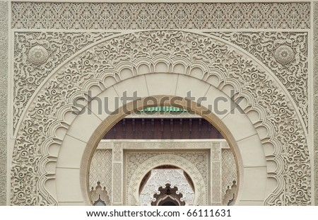 the gate that full of morocco engraving - stock photo