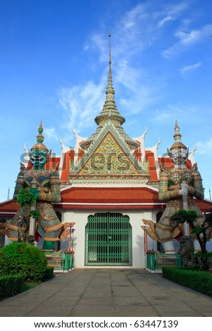 The gate to temple hall of Wat Arun - stock photo