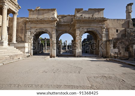 The Gates of Mazaeus and Mithridates, Ephesus, Izmir, Turkey - stock photo