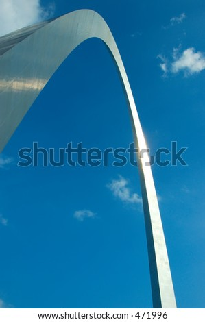 The Gateway Arch in St. Louis, MO, USA - tallest national monument in the United States at 630 feet tall. - stock photo