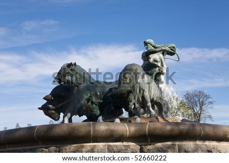 The Gefion fountain is a large fountain in Copenhagen, Denmark - stock photo