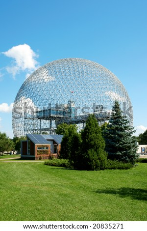 The geodesic dome called Biosphere is a museum in Montreal dedicated to water and the environment. It is located at Parc Jean-Drapeau, on Saint Helen's Island. - stock photo