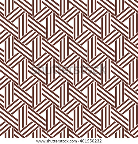 The geometric pattern with stripes and triangles. Seamless background. Brown and white texture.