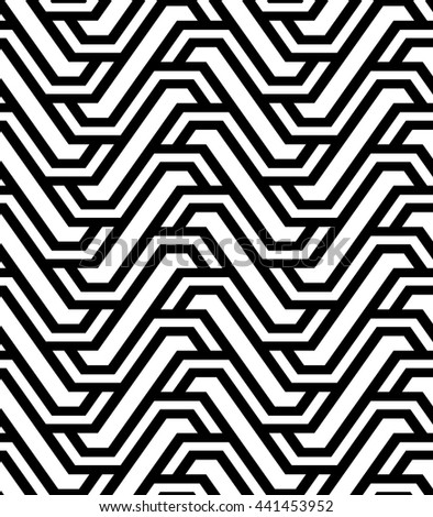 The geometric pattern with stripes. Seamless background. Black and white texture.