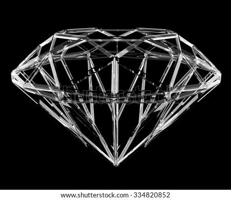 The geometrical shape of the diamond lattice, clipping path - stock photo
