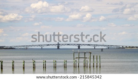 The George P Coleman memorial bridge as seen from the USCG training center pier in Yorktown Virginia on the York River - stock photo