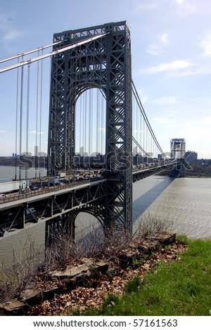 The George Washington Bridge as seen from Fort Lee, NJ - stock photo