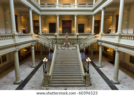 The Georgia State Capitol Building in downtown Atlanta. - stock photo