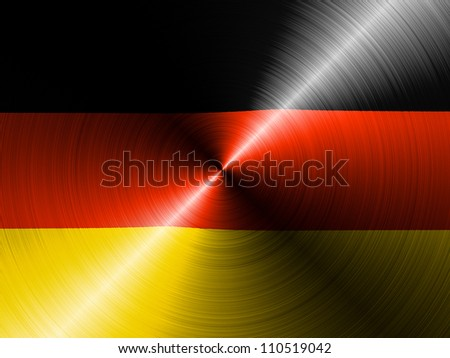 The German flag painted on brushed metall - stock photo