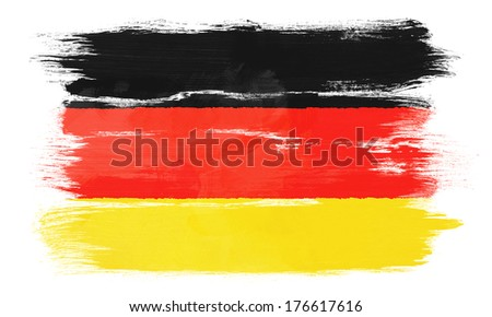 The German flag painted on white paper with watercolor - stock photo