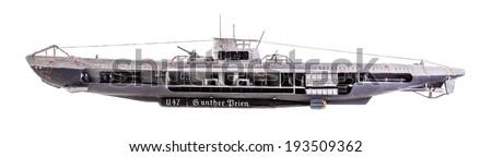 The German submarine U-47 was a Type VIIB U-boat of Nazi Germany's Kriegsmarine during World War II - stock photo