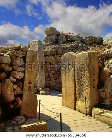 The Ggantija temples, Gozo, megalithic temples in Malta, UNESCO - stock photo