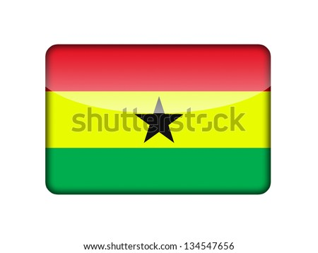 The Ghana flag in the form of a glossy icon. - stock photo