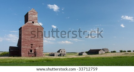 The ghost town of Bent in the province of Saskatchewan on the Canadian Prairies. - stock photo