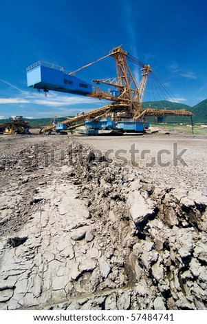 the giant backfiller for earth in coal opencast - Most - Czech Republic - stock photo