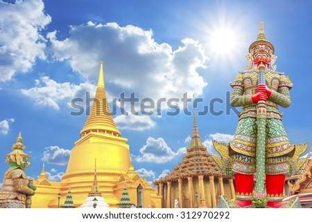 The Giant guardian wat phra kaew grand palace bangkok, thailand travel concept - stock photo