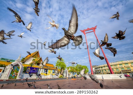 The Giant Swing with Temple of Buddha (Bangkok, Thailand) :  5 JUNE 2015 - stock photo