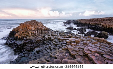 The Giants Causeway in Northern Ireland - stock photo