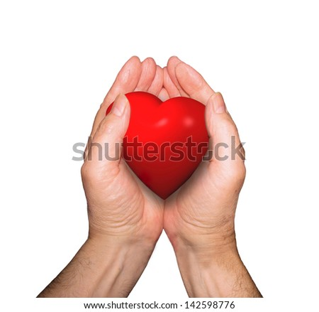 The gift or offering of one person's heart to another person as a demonstration of love isolated on white