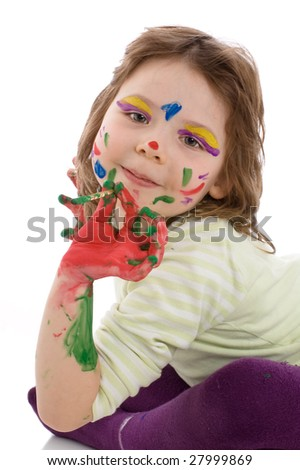 The gifted young artist. Close-up portrait of fanny girl with painted hands and face, isolated on white - stock photo