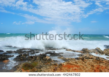 The gigantic waves of the sea of Apulia with mistral wind - Apulia - Italy