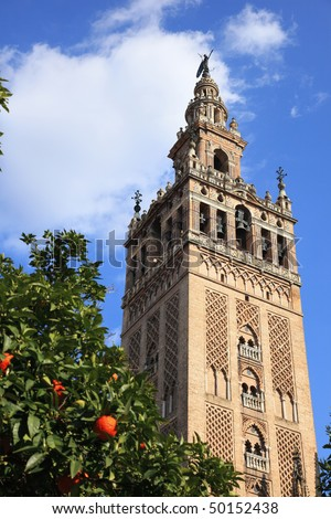 The Giralda is the bell tower of the Cathedral of Seville in Seville, Spain, one of the largest churches in the world and an outstanding example of the Gothic and Baroque architectural styles.