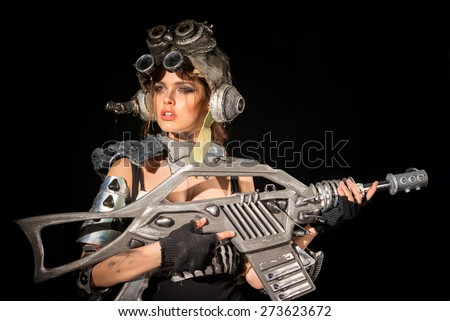 The girl - a soldier of the future - stock photo