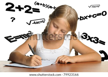 The girl and mathematical formulas. It is isolated on a white background - stock photo