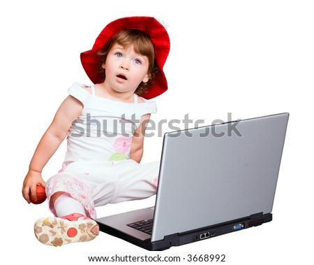 The girl behind a computer on a white background