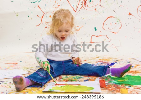 The girl draws gouache - stock photo