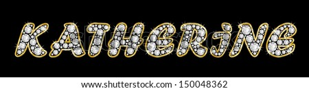 The girl, female name KATHERINE made of a shiny diamonds style font, brilliant gem stone letters building the word, isolated on black background.