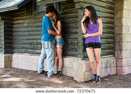 The girl found best girlfriend with guy - stock photo