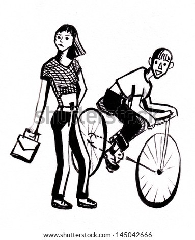 The girl goes on sidewalk, the young man has caught up with it on a bicycle
