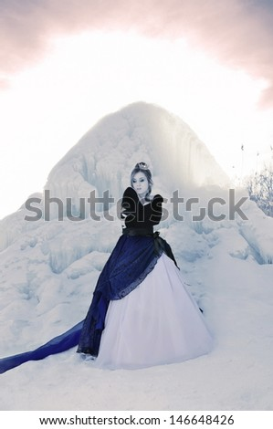 The girl in a dress and a crown on a winter landscape - stock photo