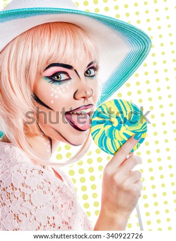 The girl in a hat licks tongue lollipop. Creative makeup in the style of pop art. Retro fashion. Sweety. Lolly . Pleasure. Color background.