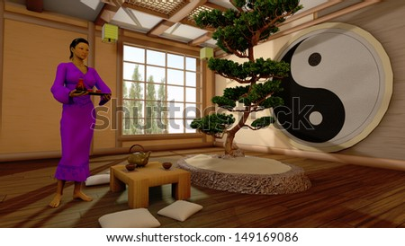 The girl in a Japanese interior it is executed in 3D - stock photo