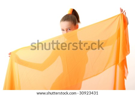 The girl in an orange dress with oranges