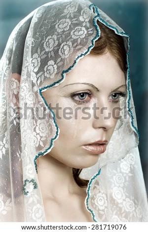 The girl in tears - stock photo