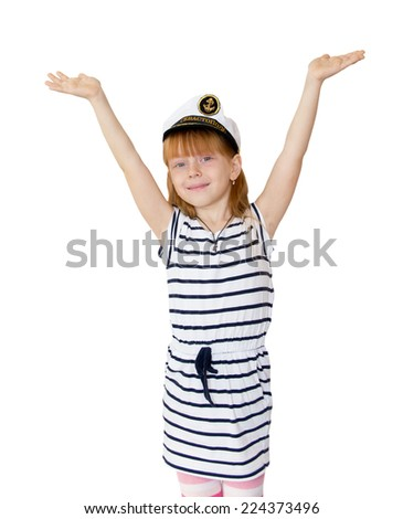 The girl in the marine cap on white background - stock photo