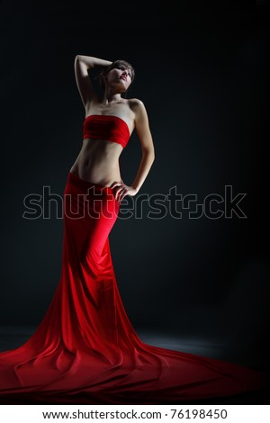 The girl in the red - stock photo