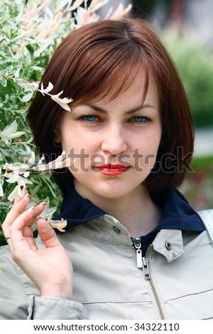 The girl in the spring - stock photo
