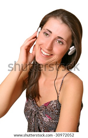 The girl in white headphones it is isolated
