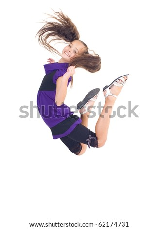 The girl jumped up, white background