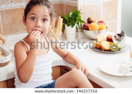 the girl like healthy breakfast. - stock photo