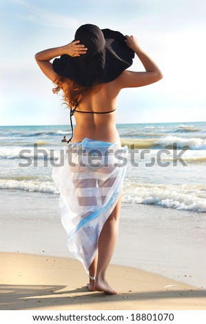 The girl on a beach stands by a back - stock photo