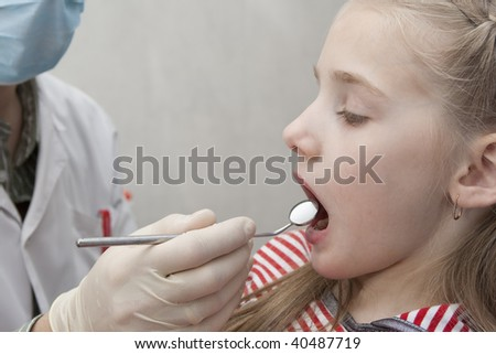 The girl on reception at the dentist Close-up - stock photo