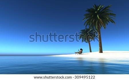 The girl on the beach. - stock photo