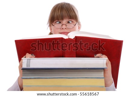 The girl reads the red book. Cross-eyed. On a white background.