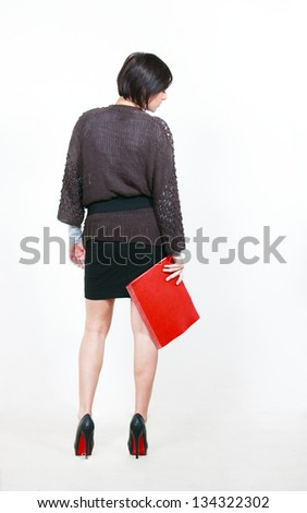 the girl secretary on a white background - stock photo