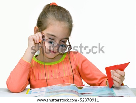 The girl, the book and points - stock photo